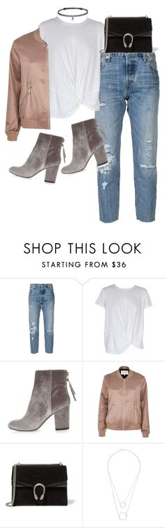 """""""Untitled #2162"""" by sarah-ihab ❤ liked on Polyvore featuring Levi's, MINKPINK, River Island, Gucci, Witchery and BERRICLE"""