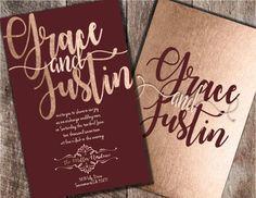 Burgundy and Blush Wedding Invitations Burgundy by Joyinvitations #weddinginvitation