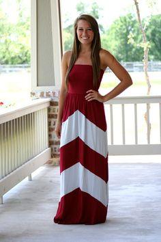 Maroon Chevron Gameday Maxi Dress. Website of cute dresses