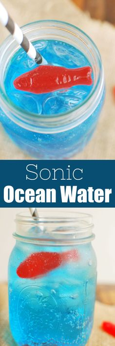 This is a must have for summer! Sprite or mixed with coconut extract for the perfect tropical mocktail! A little bit of food dye to make and some fish gummies really make it look like ocean water! Kid Drinks, Non Alcoholic Drinks, Party Drinks, Yummy Drinks, Beverages, Healthy Smoothies, Smoothie Recipes, Drink Recipes, Fun Cocktails