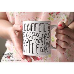 Printable Wisdom Coffee Mug Ceramic Mug Quote Mug Coffee Subway Art... ($20) ❤ liked on Polyvore featuring home, kitchen & dining, drinkware, drink & barware, grey, home & living, mugs, ceramic mugs, quote coffee mugs and coffee mugs