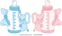 Blue and pink cute elephant with baby milk bottle