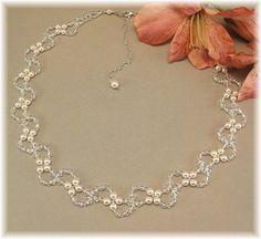 Pearl and Crystal Wedding Necklace Swarovski Austrian Crystal