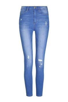 Jeans Vita Alta Destroyed Blu Acceso