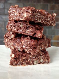 "These gluten-free no-bake chocolate coconut oat squares remind me of a candy bar I loved growing up – ""Whatchamacallit bars"". They are easy to make, chewy, and delightful."