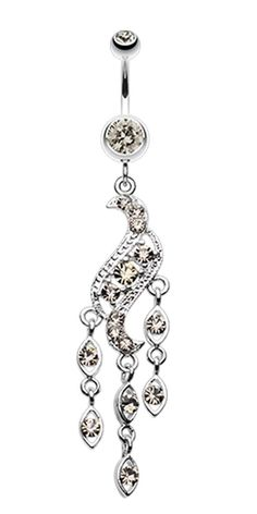Sparkle Wave Drops Belly Button Ring #BellyRing #BodyMod #BodyModification #Piercings