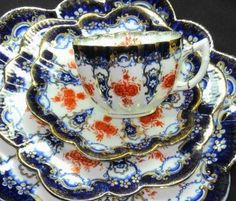 Antique England Aynsley Shelley Paragon Tea Cup and Saucer Trio Cake Plate