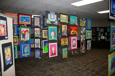 Hanging artwork from ceiling...Jamestown Elementary Art Blog: How to set up an AWESOME Art Show!!!
