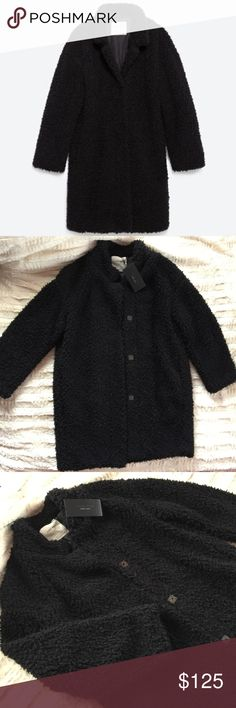 Zara Basic black teddy coat Zara Basic black teddy coat. Clasp closure, two front slit pockets. This coat is so chic with leather leggings or black ripped denim for a textured look. New with tags, size M fits slightly oversized. Zara Jackets & Coats Pea Coats