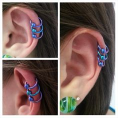 Super fun triple helix piercings on Megan today with beautiful mirror polish implant grade titanium captive bead rings in blurple and teal from Anatometal.