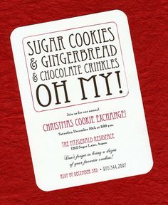 COOKIE EXCHANGE PARTY INVITATIONS Sugar cookies, gingerbread, and chocolate crinkles...OH MY! DETAILS - A7 Invitations on Soft White Card Stock - Rounded Corners - A7 Envelope (shown in Paper Bag) - A7 Vintage Cookbook Page Envelope Liner - Return Address Printing - Printed using recycled paper - Handmade in Ohio SHOWN ABOVE - Photo 1: Invitation with Lined Envelope - Photo 2: Invitation - Photo 3: Envelope Liner - Photo 4: Return Address Printing (optional) PLEASE NOTE - All wording c...
