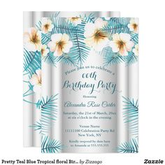 Pretty Teal Blue Tropical floral Birthday Party Invitation Bachelorette Party Invitations, Birthday Party Invitations, Birthday Woman, Party Stores, Teal Blue, Tropical, Floral, Pretty, Graphics