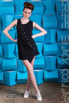Asymmetric black dress with white buttons. Order via facebook, pm or e-mail. Pastel, Spring Summer, Buttons, Facebook, Clothes, Shopping, Collection, Black, Dresses