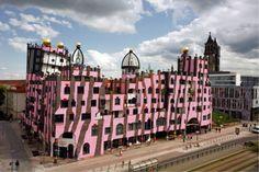 The green Citadel of Magdeburg · Projects · Architecture · Hundertwasser Unusual Buildings, Modern Buildings, Beautiful Buildings, Friedensreich Hundertwasser, Oscar Niemeyer, Gaudi, Frank Gehry, Rem Koolhaas, Guggenheim Bilbao