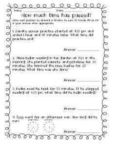 Extra Elapsed Time Practice- 4 pages that cover reading time on an analog clock, elapsed time word problems, and understanding AM and PM. Perfect as homework, assessment, test prep, etc.