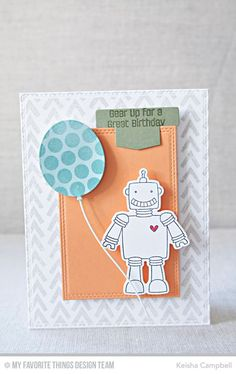 Bionic Bots stamp set and Die-namics, Wonky Chevron Background, Balloon STAX Die-namics, Double Stitched Rectangle STAX Die-namics, Hip Clips Die-namics - Keisha Campbell #mftstamps