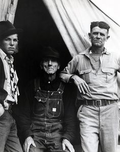 Strong image, especially the look on the lad's face at left, but the empty, negative space at top right simply doesn't work. There is nothing to hold that corner together, and the eye is left to fall out of the image. Dorothea Lange. 'Three Generations of Texans' 1935