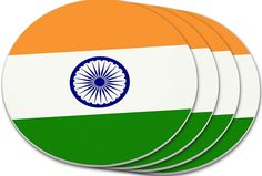 """Amazon.com: Custom & Cool {4"""" Inches} Set Pack Of 4 Round Circle """"Grip Texture"""" Drink Cup Coasters Made of Plastic w/ Cork Bottom w/ India National Country Flag Design [Colorful Orange, Blue, White & Green]: Home & Kitchen"""
