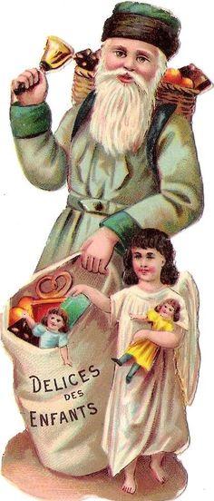 Oblaten Glanzbild scrap die cut chromo Nikolaus father XMAS Engel angel Puppe
