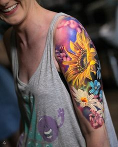 half sleeve tattoo designs and meanings Pretty Tattoos, Beautiful Tattoos, Rose Tattoos, Body Art Tattoos, Tatoos, Arm Tattoos Color, Aquarell Tattoos, Tattoo Magazine, Geniale Tattoos