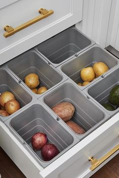 Keep produce in drawers, not countertop bowls.goodhousemag #DIY #Storage