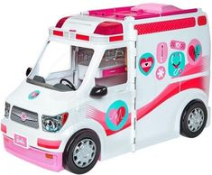 Respond to calls AND deliver the care with the Barbie care clinic -it's both an ambulance vehicle and hospital playset in one with more than 20 themed pieces. Roll the ambulance to the rescue and activate the working lights and siren with a button. Mattel Barbie, Baby Barbie, Toys For Girls, Kids Toys, Lights And Sirens, Accessoires Barbie, Top Toys, Lol Dolls, Kid Playroom