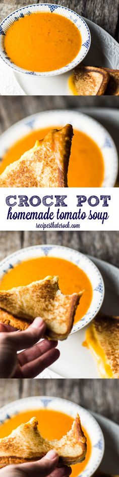 This easy crock pot tomato soup is simple way to make a flavorful homemade tomato soup right at home that beats any pre-made canned soup. One of our favorite easy crock pot recipes.  #crockpot #slowcooker #recipe #easy #recipes