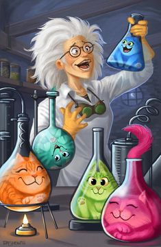 A mad scientist / crazy cat lady, painted for a client this past week. This was a lot of fun to work on! Crazy Scientist, Apothecary Decor, Chemistry Art, Arte Steampunk, Biology Art, Instagram Frame Template, Flower Phone Wallpaper, Science Art, Science Quotes