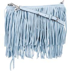 Pre-owned Rebecca Minkoff Fringe-Trimmed Finn Crossbody Bag ($125) ❤ liked on Polyvore featuring bags, handbags, shoulder bags, blue, purse shoulder bag, fringe shoulder bag, rebecca minkoff crossbody, cross-body handbag and handbag purse