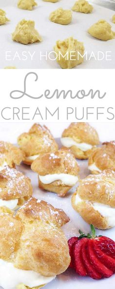 Easy Cream Puffs w/Lemon Filling are a light and puffy dessert, perfect for spring baby or wedding showers, even Easter. Beautiful presentation and so easy to make! (recipe for cream puffs sugar) Mini Desserts, Lemon Desserts, Lemon Recipes, Just Desserts, Delicious Desserts, Dessert Recipes, Wedding Desserts, Cream Recipes, Fruit Recipes