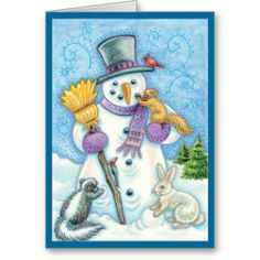 Snowman and Friends Retro Christmas Card from Sand Creek Ventures