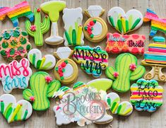 Fiesta Bridal Shower Cookies bridal shower cookies, bridal shower themes, lets t. Mexican Bridal Showers, Gold Bridal Showers, Logo Cookies, Couples Shower Themes, Bachelorette Party Cookies, Ri Happy, Personalized Cookies, Custom Cookies, Baby Shower Cookies