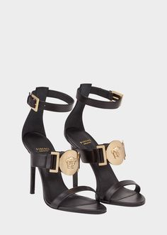 Medallion Signature Sandal from Versace Women's Collection. Seductive, strappy sandals with Medusa medallion embellishment bring glamour to new heights. Fancy Shoes, Crazy Shoes, Cute Shoes, Versace Heels, Stiletto Heels, High Heels, Aesthetic Shoes, Fashion Heels, Fashion Fashion