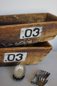 rustic wood bins with painted numbers