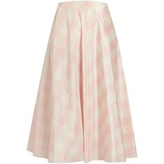 Valentino Checked silk-taffeta A-line midi skirt (€2.010) ❤ liked on Polyvore featuring skirts, pink multi, silk taffeta skirt, wet look skirt, midi skirt, retro skirts and checked skirt