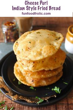 Indian Style Fried Bread loaded with cheese, herbs and spices. Perfect to serve with roasted potatoes or a flavorsome dip via funfoodfrolic. Puri Recipes, Paratha Recipes, Gourmet Recipes, Vegetarian Recipes, Snack Recipes, Cooking Recipes, Indian Snacks, Indian Food Recipes, Indian Breads
