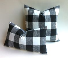 11 Sizes Available: One Black & White Plaid Zipper Pillow Cover Black and white Buffalo Check cotton cushion cover pillow cover 20x20 26x26