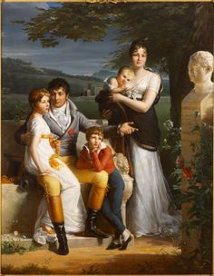 1806 Jacques-Luc Barbier-Walbonne - Portrait of Antoine-Georges-François de Chabaud-Latour and His Family (Rhode Island School of Design Museum) Classic Portraits, Classic Paintings, Family Portraits, Munier, Regency Era, Empire Style, Art Design, Jane Austen, Fashion History
