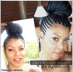 actress #Taraji always shuts down a style by showing us how to do it right! Who would've thought #cornrows and #boxbraids would look so good together #naturalista