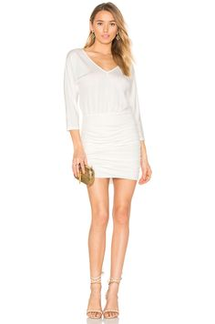Shop for Bobi BLACK Luxe Jersey Ruched Mini Dress in White at REVOLVE. bdec81db679