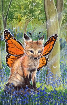 winged fairy fox cub in the bluebells