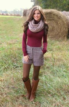 Cute fall outfit. I would probably switch the shorts out with a skirt instead.
