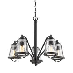 Filament Design Lorinda 5-Light Bronze Chandelier with Clear Seedy Glass Shade