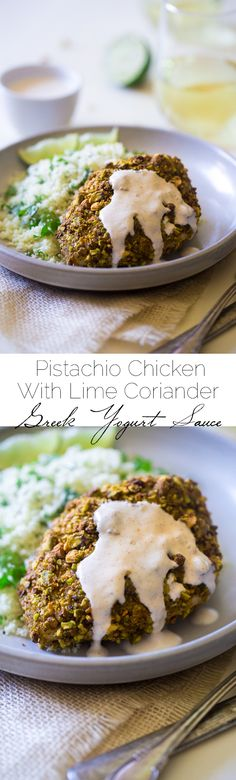 Pistachio Chicken with Cilantro Cauliflower Rice and Spicy Lime Greek Yogurt Sauce - A weeknight-friendly, easy and healthy dinner that is ready in under 30 mins! | Foodfaithfitness.com | @FoodFaithFit