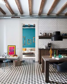 Tiled wall with open shelving