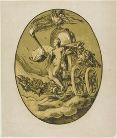 Nox/Nyx, Hendrick Goltzius, second edition printing by Willem Jansz. Blaeu Amsterdam, 1605-20, Nox, plate seven from Demogorgon and the Deities; the Greek goddess of night is pictured with her symbolic attributes, bats and an owl, symbols of night and death, and a rooster (symbol of night's end). (Art Institute of Chicago)