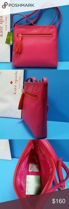 """NWT Authentic Kate Spade Crossbody Bag Brand New With Tag  Kate Spade Dessi  Chester Street Crossbody Bag.  Sweater Pink with red trim.  Zip pocket at front with Leather Tassel. Top zipper closure. Long Adjustable Shoulder Strap 22 inches Drop. Signature Kate Spade lining in hot pink.  Kate Spade Care Card included.  9.25"""" H x 10"""" W x 2"""" D.               -------- PRICE FIRM -------- kate spade Bags Crossbody Bags"""