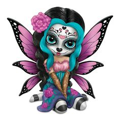 It's so cute. Do you have one? Get it here => http://mysugarskulls.com/jasmine-becket-griffith-bright-sofia-sugar-skull-fairy-figurine-remarque-hamilton-collection #sugarskullfigurines #mysugarskulls #dayofthedead #sugarskulls