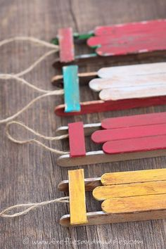 Popsicle Stick Miniature Sled Christmas Tree DIY Ornaments Fireflies and Mud Pies Easy and Cheap DIY Christmas Tree Ornaments Kids Crafts, Craft Stick Crafts, Craft Sticks, Popsicle Sticks, Craft Ideas, Preschool Crafts, Fall Crafts, Ideas Navideñas, Dyi Crafts