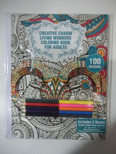 Creative Charm Living Wonders Coloring Book For Adults 100 Designs Set #Tekno